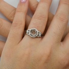 7mm Round Ring Semi Mount In 14K White Gold With White Diamonds