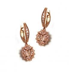 7x5mm Oval Semi Mount Earring In 14k Rose Gold With Diamond Halo (eso105)