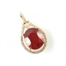 8.24 Carat Madagascar Ruby And Diamond Pendant In 14k Rose Gold