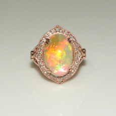 8.40 Carat Ethiopian Opal & Diamond Cocktail Ring In 14k Rose Gold
