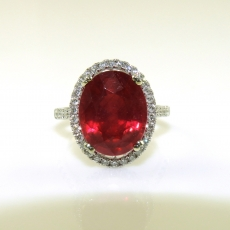 8.54 Carat Madagascar Ruby And Diamond Ring In 14k White Gold