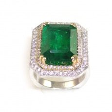 8.54 Carat Zambian Emerald And Diamond Engagement Ring In 14K Dual Tone (Yellow / White)  Gold