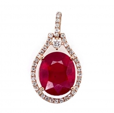 8.54carat Madagascar Ruby With Diamond Pendant In 14k Rose Gold