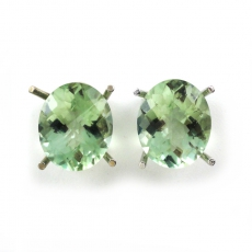 8.64 Carat Green Amethyst Stud Earring In 14k White Gold