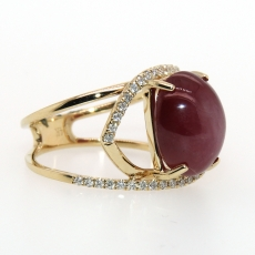 8.73 Carat Star Ruby And Diamond Ring In 14k Yellow Gold