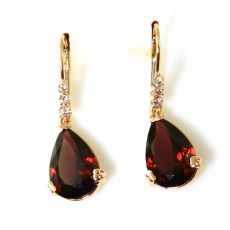 8.79 Carat Rodholite Garnet And Diamond Earring In 14k Rose Gold