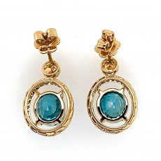 8.88 Carat Blue Zircon And Diamond Earring In 14k Yellow Gold