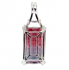 9.46 Carat Bi- Tourmaline And Diamond Pendant In 14k White  Gold