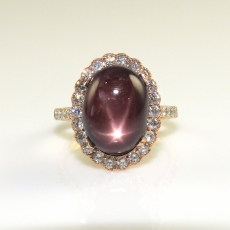 9.58  Carat Madagascar Star Ruby And Diamond Cocktail Ring  In 14k Rose Gold