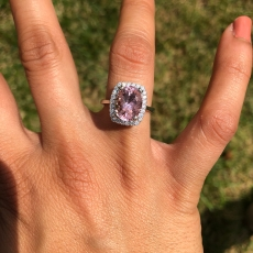 AAA Pink Morganite 3.36 Carat with Halo diamond Ring in 14K White Gold Setting