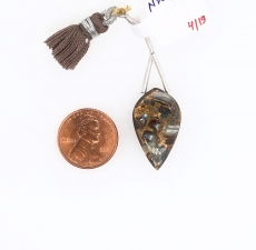 Abalone Shell Drops Leaf Shape 25x15mm Drilled Beads Matching Pair