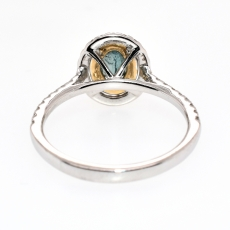 Alexandrite Oval 0.47 Carat With Accented Diamond  Double Halo Ring In 14K Dual Tone (Yellow / White) Gold.