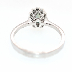 Alexandrite Oval 0.54 Carat With Accented Diamond Floral Halo Ring In 14K White Gold.