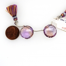 Ametrine Drops Coin Shape 18mm Drilled Beads Matching Pair