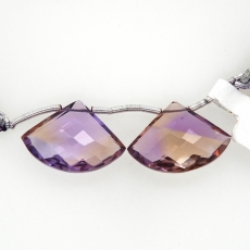Ametrine Drops Fan Shape 15x22mm Drilled Beads Matching Pair