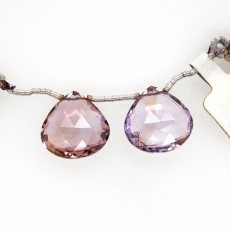 Ametrine Drops Heart Shape 17mm Drilled Beads Matching Pair