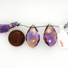 Ametrine Drops Leaf Shape 26x16mm Drilled Beads Matching Pair