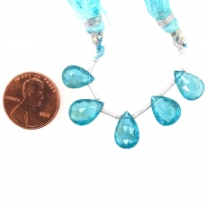 Apatite Drops Almond Shape 12x8mm Drilled Beads 5 Pieces
