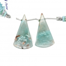 Aqua Chalcedony Drops Conical Shape 34x19mm Drilled Beads Matching Pair