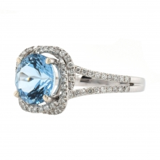 Aquamarine 1.76 Carat With Accented Diamond Halo Ring In 14K White Gold
