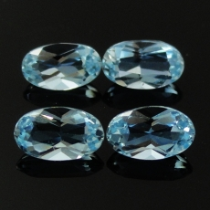 Aquamarine Approx  0.40 Carat Oval 5x3mm Matching Pair