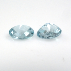 Aquamarine Approximately 3.20 Carat Oval 9x7mm Checkerboard Cut
