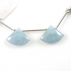 Aquamarine Drops Fan Shape 18x13mm Drilled Beads Matching Pair