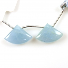 Aquamarine Drops Fan Shape 19x13mm Drilled Beads Matching Pair