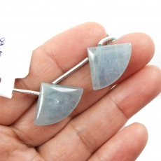 Aquamarine Drops Fan Shape 24x16mm Drilled Beads Matching Pair