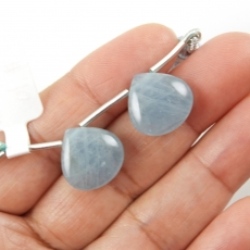 Aquamarine Drops Heart Shape 14x14mm Drilled Beads Matching Pair