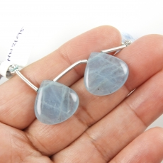 Aquamarine Drops Heart Shape 18x18mm Drilled Beads Matching Pair
