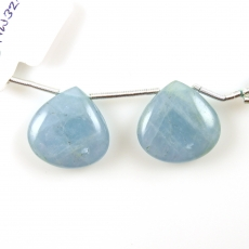 Aquamarine Drops Heart Shape 19x19mm Drilled Beads Matching Pair