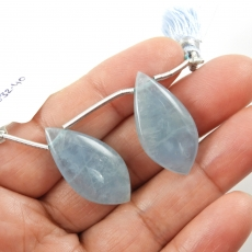 Aquamarine Drops Leaf Shape 28x14mm Drilled Beads Matching Pair