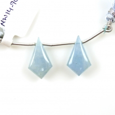 Aquamarine Drops Shield Shape 20x12mm Drilled Beads Matching Pair
