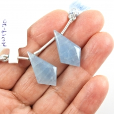 Aquamarine Drops Shield Shape 24x13mm Drilled Beads Matching Pair