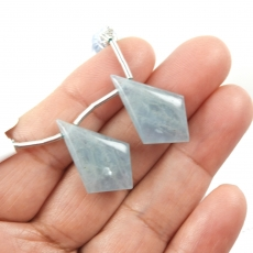 Aquamarine Drops Shield Shape 25x15mm Drilled Beads Matching Pair