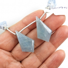 Aquamarine Drops Shield Shape 27x16mm Drilled Beads Matching Pair
