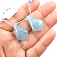 Aquamarine Drops Shield Shape 28x18mm Drilled Beads Matching Pair