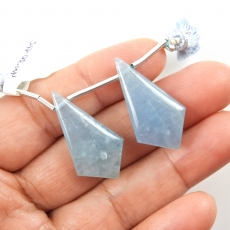Aquamarine Drops Shield Shape 29x15mm Drilled Beads Matching Pair