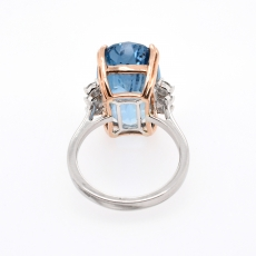 Aquamarine Oval 12.19 Carat With Diamond Cocktail Ring in 14K Dual Tone ( Rose/ White ) Gold