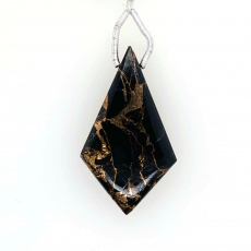 Black Copper Obsidian Shield Shape 40x22mm Drilled Bead Pendent Piece