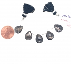 Black Moonstone Drops Almond Shape 13x10mm Drilled Beads 5 Pieces