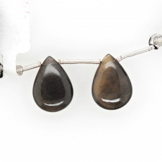 Black Moonstone Drops Almond Shape 18x13mm Drilled Beads Matching Pair