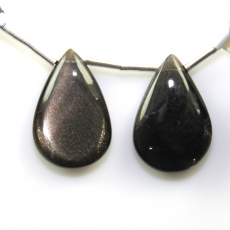 Black Moonstone Drops Almond Shape 21x14mm Drilled Beads Matiching Pair