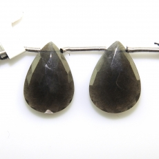 Black Moonstone Drops Almond Shape 22x14mm Drilled Bead Matching Pair