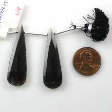 Black Moonstone Drops Almond Shape 41x12mm Drilled Beads Matching Pair