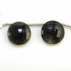 Black Moonstone Drops Coin Shape 17mm Drilled Beads Matiching Pair