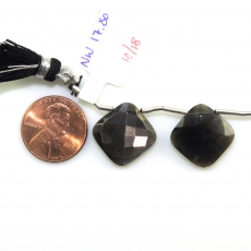 Black Moonstone Drops Cushion Shape 15mm Drilled Beads Matiching Pair