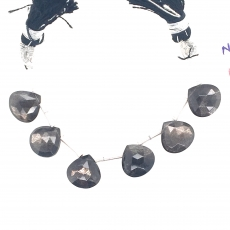 Black Moonstone Drops Heart Shape 10mm Drilled Beads 6 Pieces