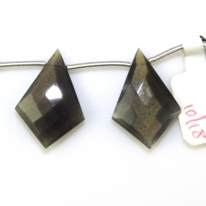 Black Moonstone Drops Kite Shape 25x17mm Drilled Beads Matiching Pair